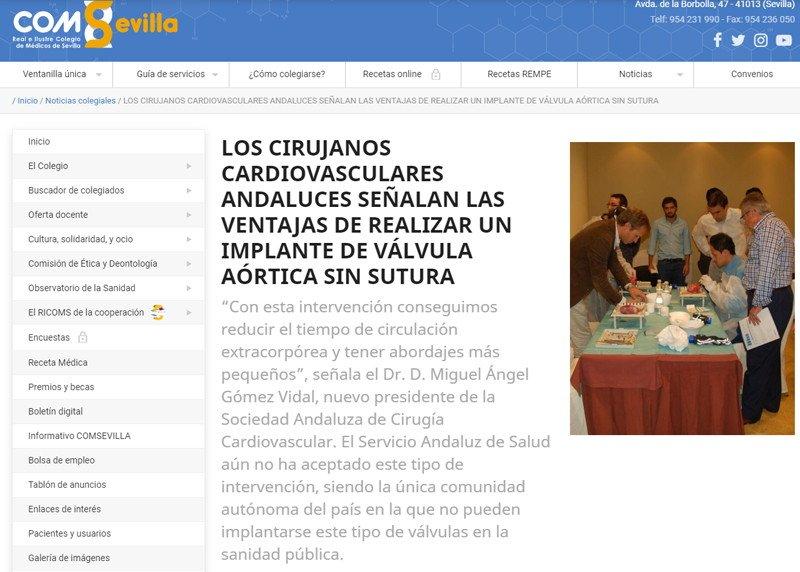 Colegio de Médicos de Sevilla ventajas de las prótesis sin suturas